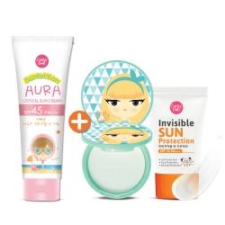 *โปรโมชั่น 1 แถม 2* Aura Crystal Sun Cream SPF45 PA+++ 140g Cathy Doll Suntection