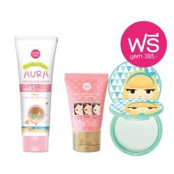 *โปรโมชั่น Summer Sale Makeup & Sun Care Collection Suntection*Aura Crystal Sun Cream SPF45 PA+++ 140g Cathy Doll Suntection